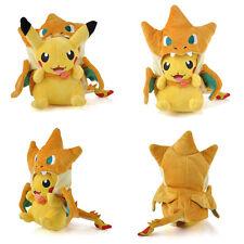 Pokemon Pikachu With Charizard Hat Plush Soft Toys Stuffed Animal Doll Gift NEW
