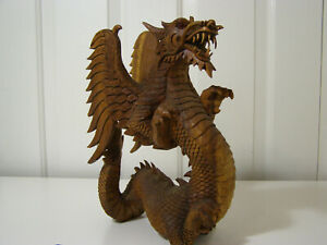 "Beautiful Heavy Hand Carved Wooden Dragon Statue Sculpture Figurine 12.5"" Tall"