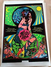 """Vintage Blacklight Velvet Poster Psychedelic Creation Of Woman 1973 36"""" x 24"""""""