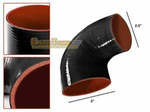 "3""-2.5"" Silicone Hose/Intercooler Pipe Elbow Coupler BLACK For Mercury/Volvo"