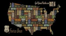 American Dream Licence Plate Map of USA By The Panel Route 66