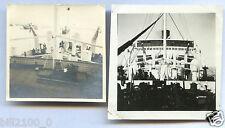 photo ancienne . paquebot Sphinx . 2 photos ( proue et poupe ) vers 1930