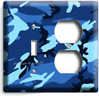 BLUE MILITARY NAVY CAMO CAMOUFLAGE LIGHT SWITCH OUTLET WALL PLATE COVER MANCAVE