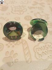 Anillo aluminio verde cabochon cristal niña gorjuss