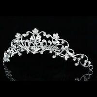 Handmade Floral Bridal Pearl Rhinestone Crystal Wedding Tiara Hair Comb V621