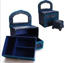 US Blue Jewelry Ring Box Case Mini dresser Drawer chair Dollhouse Furniture gift