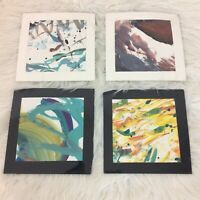 """Four Modern Abstract Matted Prints 8.5"""" x 8.5"""" Two signed Quincy Houston"""