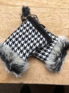 Stunning Hounds Tooth Wool Fingerless Fur Gloves
