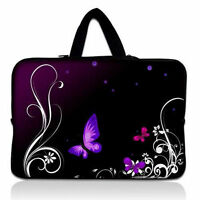 """Purple Butterfly 15"""" 15.4"""" 15.5"""" 15.6"""" Laptop Sleeve Soft Bag Case Cover +Handle"""