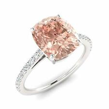 Certified 2.02Ct Natural Morganite Diamond Engagement Ring Sterling Silver Sz 6