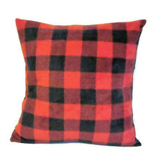 Red Buffalo Check Plaid Handmade Square Fleece Pillow Cover Sham 14 X 14