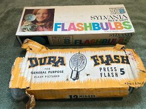 "Two sets vintage Flash bulbs: Dozen Sylvania 25B and ""Dura-flash"" # 5 Class M"