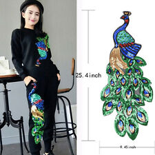 Colorful Sequin Peacock Embroidery Fabric Large Applique Decorate Accessory G0h