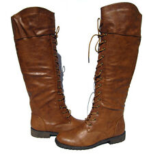 New Women's Riding Boots Brown Tan Knee High shoes winter snow Ladies size 6