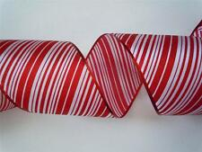 "5yd Red White Candy Canes 5"" Wired Ribbon Christmas Wedding Wreath Door Decor"