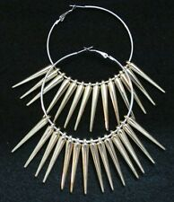 """Basketball Wives 2 1/2"""" Hoop Earrings with Gold Spikes Poparazzi"""