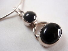 Black Onyx 925 Sterling Silver Necklace Double Gem Circle Corona Sun Jewelry