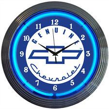 "New Genuine Chevrolet Logo Blue Neon Hanging Wall Clock: 15"" Diameter / 8CHEVY"