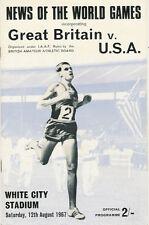 Great Britain v Usa Athletics Programme 12 Aug 1967 White City, London