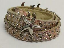 SAND CASTLE Silver Gold Tone Studded Leather Belt STARFISH Vintage Hard to find!