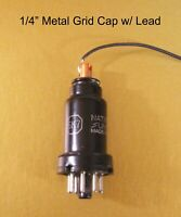 "1/4"" Metal Grid Cap w/ Lead - Tube Anode Plate Top- For Your Vintage Radio & Amp"