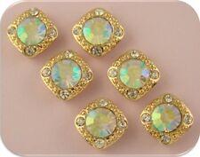 2 Hole Beads Stardust Crystal Gala Clear Aurora Borealis Swarovski Elements 6 pc