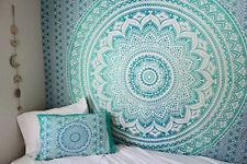 Green Ombre Wall Hanging Bedding Bedspread Indian Cotton Tapestry Single Size