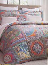 ENVOGUE Cotton 300TC Moroccan Patchwork Orange Green Floral Duvet Set-Full/Queen