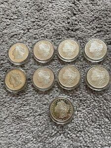 (9) 1896 Statue Of Liberty E PLURIBUS UNUM Silver Replica Commemorative Coin