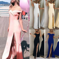 Womens Split Bodycon Dress Off Shoulder Evening Cocktail Party Ball Gown Wedding