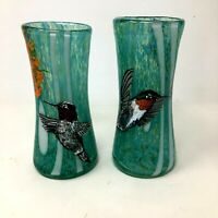 Pair of Hand Blown Turquoise and White Glass Vases Handpainted Birds Hummingbird