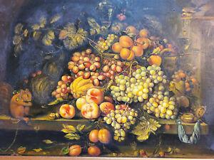 Vintage Original Oil Painting Fruit Still Life Ornate Gesso Wood Frame 21.5x17.5