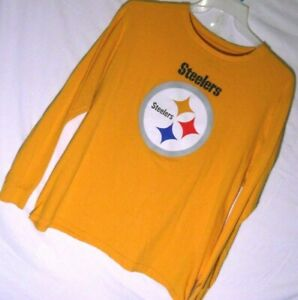 PITTSBURGH STEELERS t shirt tee long sleeves Yellow size XL 100% Cotton