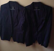 Women's Size 10 Ann Taylor Suit Coat Blazer Navy with Stripes One Button Lot