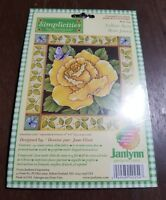 New Simplicities By JANLYNN Counted Cross Stitch Kit Yellow Rose Butterflies