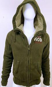 Hollister Men's Fur Hoodie Jacket Coat Full zip Dark Green M