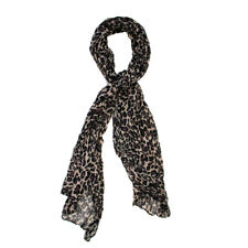 Purple Beige Black Leopard Print Crinkled Scarf Shawl Neck Wrap