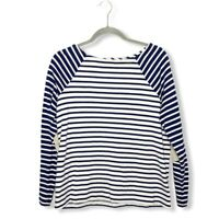 Vineyard Vines Women's Suede Elbow Mixed Stripe Top Size Medium Navy Blue Cream
