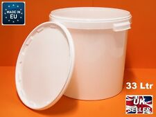 33 Litre White Plastic Bucket Fermentation with Lid and Airlock  -Largest Size