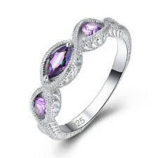 Rainbow Amethyst Women Silver Wedding Ring Multicolored Purple Jewelry Set Gift