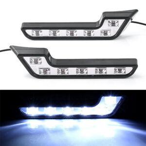 White 6 LED Car Front Grille Mount Fog Light L Shaped ABS Lamp DC 12V 4.8W 2Pcs
