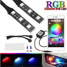 2x Demon Eyes RGB LED Car Headlight Bulb Decoration Light Bluetooth App Control