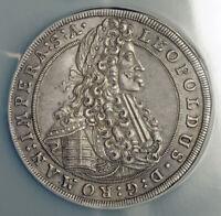 1702, Bohemia, Emperor Leopold I. Silver Thaler Coin. Prague mint! NGC AU-55!