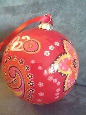 Vera Bradley Glass Ornament Raspberry Fizz - Rare - Brand New In Box