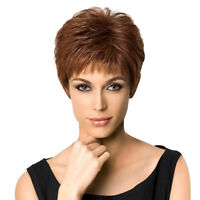 "11"" Short Wig for Women Real Human Hair Pixie Cut Chic Wig w/ Bangs Brown"