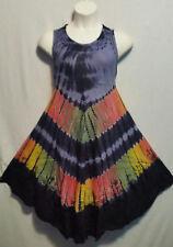 Women Clothing Tie Dye Sundress Summer Beach Sun Dress Navy Blue Pink Free Size