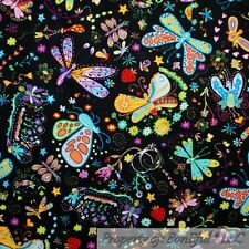 BonEful Fabric FQ Cotton Quilt Black Rain*bow Dragon*Fly Butterfly Flower Girl S