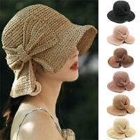 Straw Summer Hats Women Ladies Fashion Foldable Beach Sun Hat Brimmed
