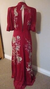 BRAND NEW ASOS Claret Dress with Gold Embroidery Size 10