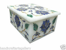 "4""x3""x2"" Marble Jewellary Box Lapis Floral Marquetry Inlay Beautiful Decor Gifts"